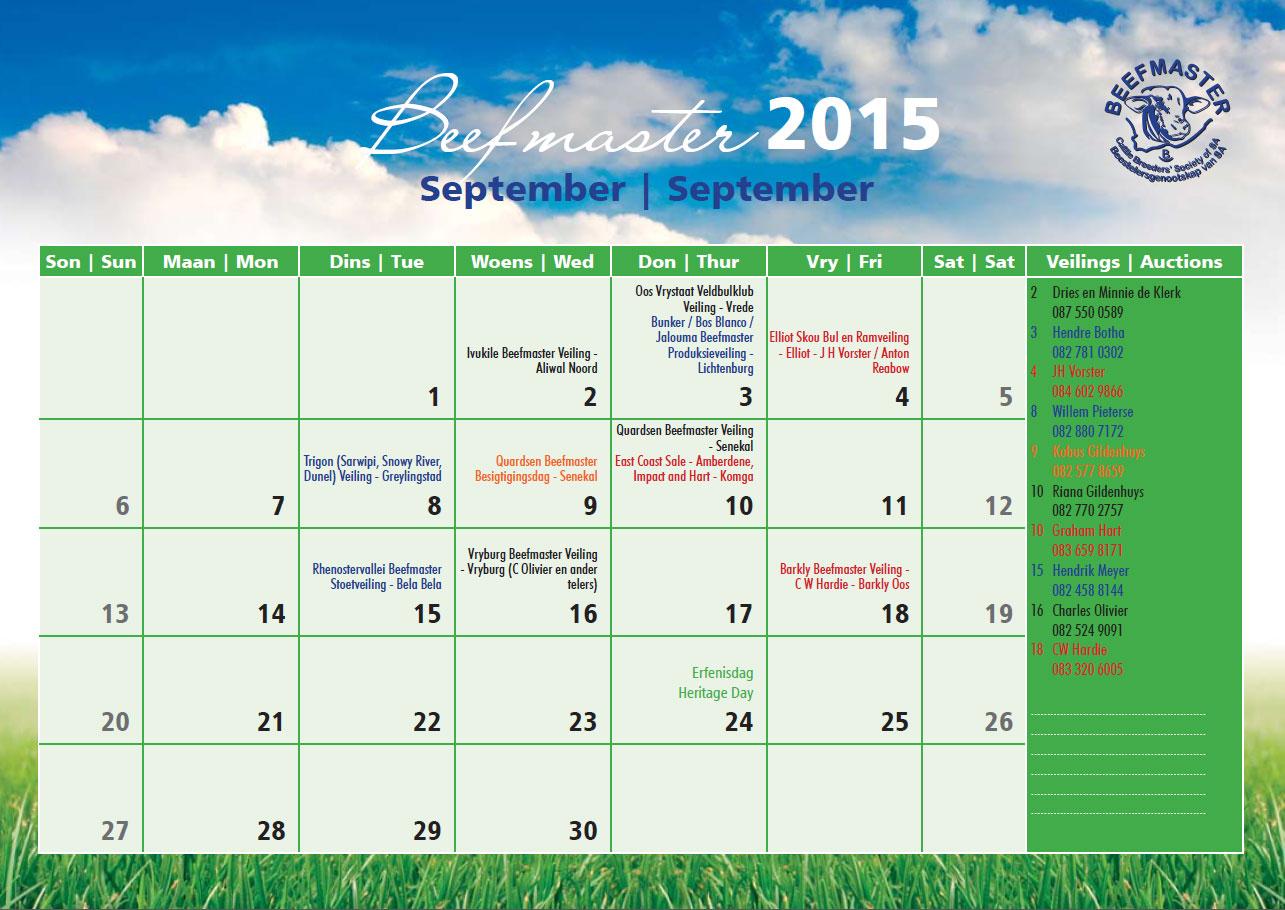Calendar Za : Beefmaster sa calendar
